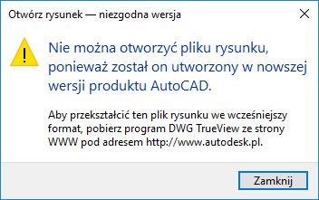 Konwersja do starszej wersji DWG przy użyciu DWG TrueView